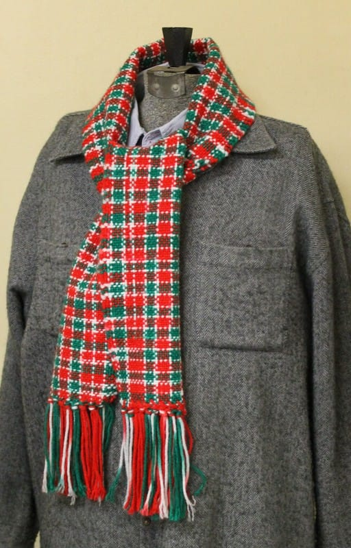 plaid scarf made from red heart mistletoe red green white worsted variegated acrylic yarn woven on - Christmas Plaid Scarf